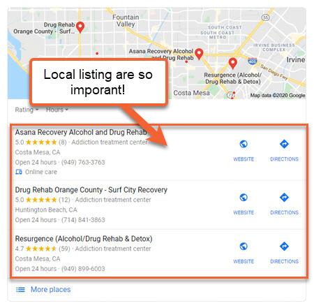 drug rehab seo local listings